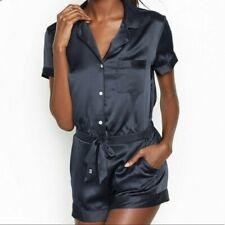 Victorias Secret Navy Short Sleeve Button Up Lounge Pajama/Sleep Romper S $60 💙