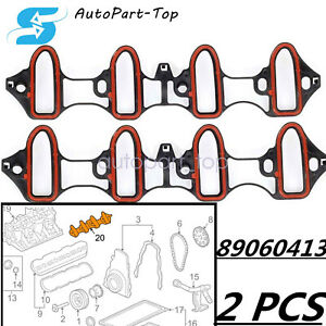 2pcs Intake Manifold Gasket Replacement Set For Chevy GMC 4.8/5.3/6.0L