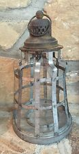 "Antiqued Lantern Light Lamp Candle Holder Garden Distressed Rustic Metal 16"""