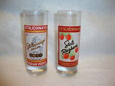 STOLICHNAYA VODKA SHOT GLASS Glasses Lot x 2 Original Russian & Stoli Raspberry