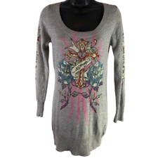 Ed Hardy Gray & Multi-Color Floral Cross Rhinestone Long Sleeve Sweater Size Med