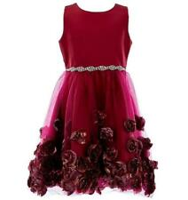 """NEW Rare Editions Girls Size 5 """"BURGUNDY RED SOUTACHE"""" Christmas Holiday Dress"""