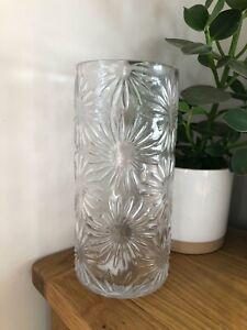 Gisela Graham clear glass daisy flower embossed cylinder vase 25.5cm