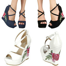 Embroidered Floral Sky High Platform Wedge Heel Peep Toe Ankle Strap Pump Sandal