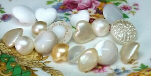 Vintage job lot of assorted  glass buttons creams and whites