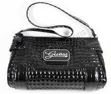 NEW GUESS SOMERSET GLOSSY CROC SHOULDER BAG BLACK W TAG