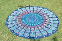 Bohemian Blue Mandala Round Beach Tapestry Hippie Throw Yoga Mat Indian Roundie