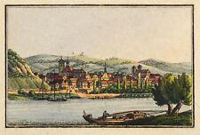 AUSSIG / ÚSTÍ NAD LABEM - GESAMTANSICHT - kolorierter Kupferstich um 1820