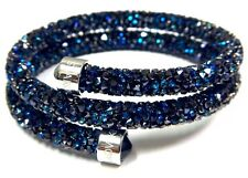BLUE CRYSTALDUST DOUBLE BANGLE BRACELET SMALL 2016 SWAROVSKI JEWELRY #5255903