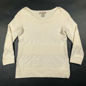 Banana Republic Womens S Cotton Stretch White Argyle Cable Knit Sweater Epaulets