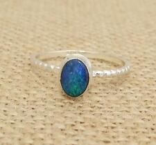 Australian Opal 925 Sterling Silver Ring UK Size R-US 8 3/4