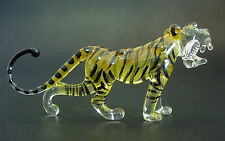Glass TIGER Stripy Wild Cat Painted Glass Ornament Glass Animal Curio Display