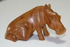 "Carved 3"" Wooden Hippopotamus Sculpture / Figurine, Euc"