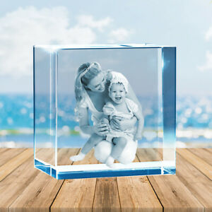 Light-base 3D Photo Glass Crystal Block in Glass Memory Gift 8cm x 8cm x 8cm