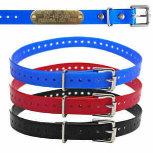 """Hunting Dog Puppy 3/4"""" Name Collar Strap with Free Brass Name Plate Pet ID Tag"""