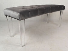 Contemporary Modern Tufted Velvet Fabric Bench with Lucite Legs (9806)NJ