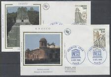 FRANCE FDC - S91 92 1 UNESCO -  PARIS 6 Decembre 1986 - LUXE sur soie