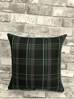 "17"" CAMPERVAN CUSHION T5 T6 T4 VW CADDY TARTAN FABRIC FAUX LEATHER NEW GREEN"