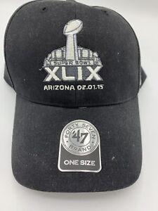Super Bowl XLIX Cap NFL Official 47 Brand.  Black/New