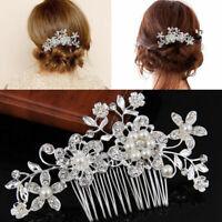 Bridal Wedding Flower Crystal Rhinestones Pearls Women Comb Hair Decor