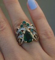 925 Sterling Silver Handmade Authentic Turkish Emerald Ladies Ring 7 8 9