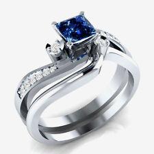 2.39ct New Blue Sapphire Princess Cut 925 Sterling Silver Bridal Ring & Freeship