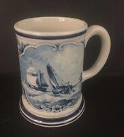 Delft Blue J H B Koekkoek Mug Original Delftsblauw Holland Sailboats & Flowers