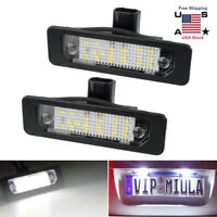 2Pcs License Plate LED 18SMD Light Lamp Bulb White For Ford Fusion Fiesta Mondeo