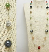 Gold and Multi Colored Long Pearl FASHION Necklace Set