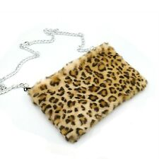 Boutique Leopard print Looking Light Faux Fur Messenger Crossbody Make Up Bag