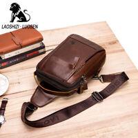 Lion Men's Genuine Leather Chest QR  Sling Shoulder Sport Bag Cross-body Pack