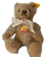 "Vintage Steiff Gold Mohair Teddy Bear With Button And Tags 8"" Perfect Condition"