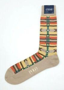 Polo Ralph Lauren Mens Aztec/Southwestern/Indian Beige/Tan/Camel Socks Sz 10-13