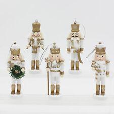 Christmas Decoration 5 Pack 11cm Nutcracker Style Figurines White / Gold