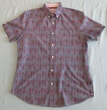 Blue with Red Seahorse Print Casual Short Sleeve Button Down Shirt Bruised Sz M