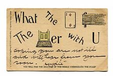 """Vintage Postcard HULD'S RIDDLES SERIES NO 3 Rebus 1905 """"What the Deuce is the..."""