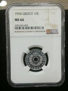 GREECE 10 LEPTA 1954 KING PAUL NGC MS66