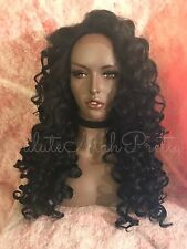 100% Human Hair Blend Curly 3x5 Natural Parting Lace Front Wig 1B