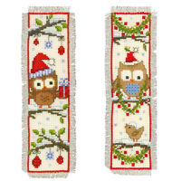 Owls in Santa Hats : Vervaco Counted Cross Stitch Kit : Bookmarks -  PN0149284
