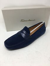 $700 New Santoni Mens Blue Shoes Suede Size 12 US 11 UK 45 EU