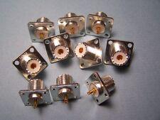 6 PCS SILVER PLATED TEFLON UHF FEMALE SO-239 PANEL MOUNT COAX CONNECTORS - NEW