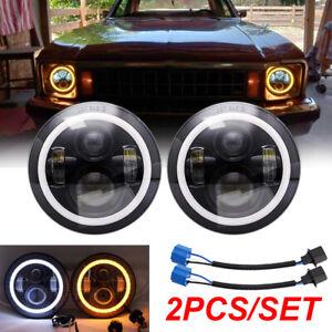 "2x7"" Inch Round LED Headlight Hi/Lo Beam Fit For Chevrolet Chevy Nova 63-78 Jeep"