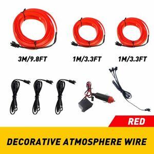 5M LED Auto Car Interior Fiber Optic EL Wire Strip Atmosphere Light Kit Red 3in1
