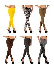 Markenlose Damenhosen mit mittlerer Bundhöhe aus Baumwollmischung