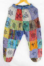 Men Women Cotton Patch Yoga Harem Pant Festival Trouser Block Print Stonewashed