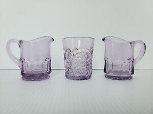 Vintage Sun Purpled Cut Glass Shot Glass and Set of Small Creamer Pitchers
