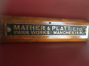 Vintage Old  Industrial Cast Brass Sign Plaque Mather & Platt