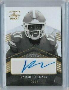 2021 Leaf Ultimate Draft Kadarius Toney Rookie Auto Gold #d 1/10 Football