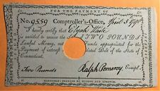 CONNECTICUT COMPTROLLER'S PAYMENT to ELIJAH WHITE of 1790 RADAR PALINDROME 9559