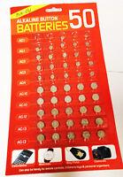 50 PC ( 50 PC X 1 CARD ) ALKALINE BATTERIES CARDED AG1 AG3 AG4 AG10 AG12 AG13